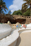 Banco del mosaico en parque del guell Fotografía de archivo