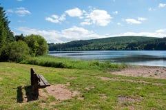 Banco del verano por un lago Imágenes de archivo libres de regalías
