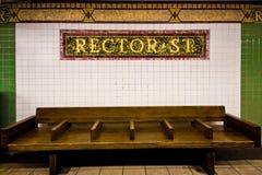 Banco della stazione di metro di NYC Immagini Stock Libere da Diritti