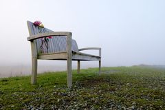 Banco di legno con i fiori recisi fuori il giorno nebbioso Fotografia Stock