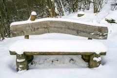 Banco di legno con neve immagini stock