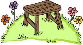 Banco di legno in giardino illustrazione di stock