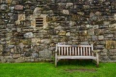 Banco di legno a Richmond Castle immagine stock libera da diritti