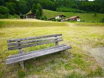 Banco di legno sull'iarda verde immagini stock