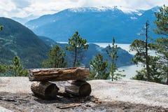 Banco di legno sulla scogliera Fotografie Stock
