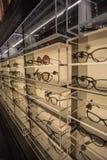 Banco di mostra di occhiali in pieno dei vetri di lusso a Cagliari, Sardegna novembre 2018 fotografie stock