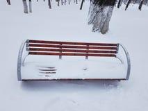 Banco di parco di legno coperto da neve nel parco fotografia stock libera da diritti