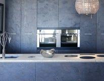 Banco di pietra di bianco del marmo di forniture della cucina dell'ardesia Immagini Stock