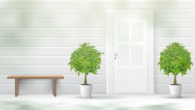 Banco di resto di Front Door With Plants And Fotografia Stock