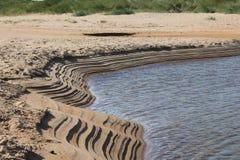 Banco di sabbia sull'estuario della spiaggia di Embleton Fotografia Stock