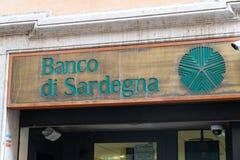 Banco di Sardegna bank branch. Rome, Italy - October 31, 2018: Branch of the Banco di Sardegna Bank of Sardinia, headquartered in Sassari and operating primarily royalty free stock photo