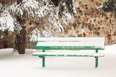 Banco di Snowy Fotografia Stock Libera da Diritti
