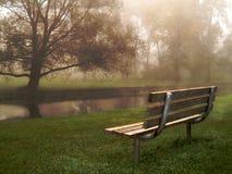 Banco do beira-rio na névoa fotografia de stock