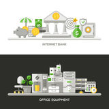 Banco do Internet, bandeiras lisas do conceito de projeto do equipamento de escritório, encabeçamentos ajustados Fotos de Stock Royalty Free