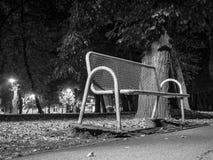 Banco do metal no parque na noite imagem de stock