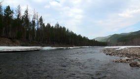 Banco do rio Temnik da montanha video estoque