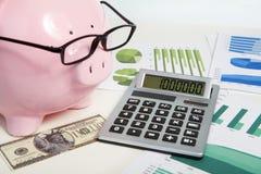 Banco e calculadora do porco imagem de stock
