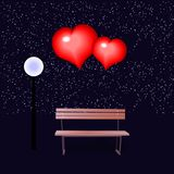 Banco e corações loving Ilustração para o dia do ` s do Valentim Imagens de Stock