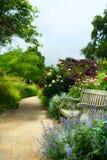 Banco e fiori di arte di mattina in un parco inglese immagine stock libera da diritti
