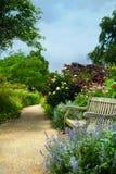 Banco e fiori di arte di mattina in un parco inglese fotografia stock libera da diritti