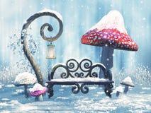 Banco e funghi di inverno di fantasia illustrazione di stock