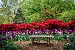 Banco e jardins em Sherwood Gardens Park, em Guilford, Baltimo Fotos de Stock Royalty Free