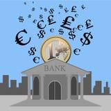 Banco e moeda Foto de Stock