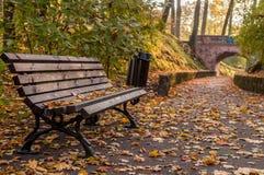 Banco e percorso di autunno al ponte Immagine Stock