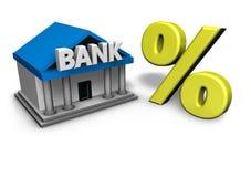 Banco e símbolo da porcentagem Fotografia de Stock Royalty Free