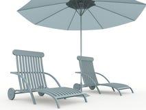 Banco ed ombrello Immagini Stock Libere da Diritti