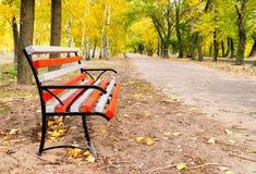 Banco en avenida en parque del otoño Fotos de archivo