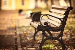 Banco en el parque del otoño Fotografía de archivo