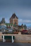 Banco en la ciudad de Quebec, Canadá Foto de archivo