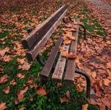 Banco en otoño Foto de archivo libre de regalías