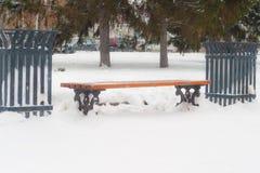Banco en parque del invierno Fotos de archivo