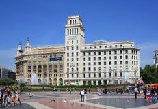 Banco Español de Crédito Plaça de Catalunya στη Βαρκελώνη Στοκ φωτογραφία με δικαίωμα ελεύθερης χρήσης