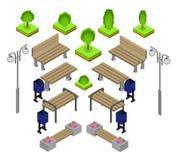 banco Insieme all'aperto dell'icona dei banchi di parco Fotografia Stock