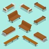 banco Insieme all'aperto dell'icona dei banchi di parco Banchi di legno per resto nel parco Illustrazione isometrica piana di vet Fotografie Stock