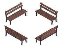 Banco isométrico marrom de madeira Foto de Stock