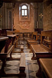 Banco italiano de la iglesia Fotografía de archivo
