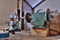 Banco lavoro. Workbench with a cellar abandoned Royalty Free Stock Photography