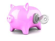 Banco leitão do dinheiro com chave ilustração stock