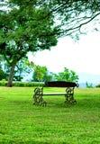 Banco in mezzo ad un giardino verde immagini stock