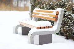 Banco moderno en un parque nevoso Imagen de archivo libre de regalías