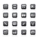 Banco, negócio, finança e ícones do escritório Imagem de Stock