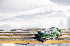 Banco nevado Fotografía de archivo