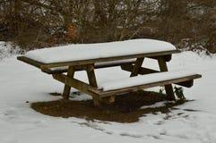 Banco nevado na estrada ao salto do rio Nervion nevado A natureza ajardina a neve Imagens de Stock Royalty Free