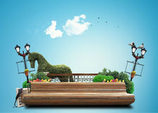 Banco no parque da cidade Imagens de Stock Royalty Free