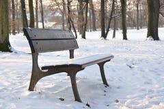 Banco no parque do inverno Foto de Stock Royalty Free