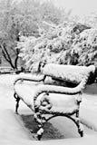 Banco no parque do inverno Imagem de Stock Royalty Free